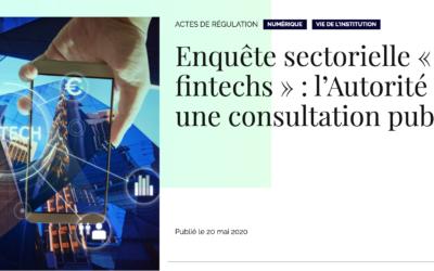"""Consultation de l'Autorité de la Concurrence – Enquête sectorielle """"fintech"""""""